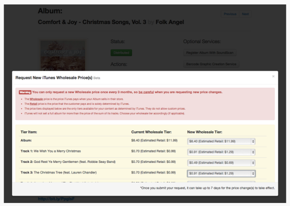 Price Modifications in iTunes